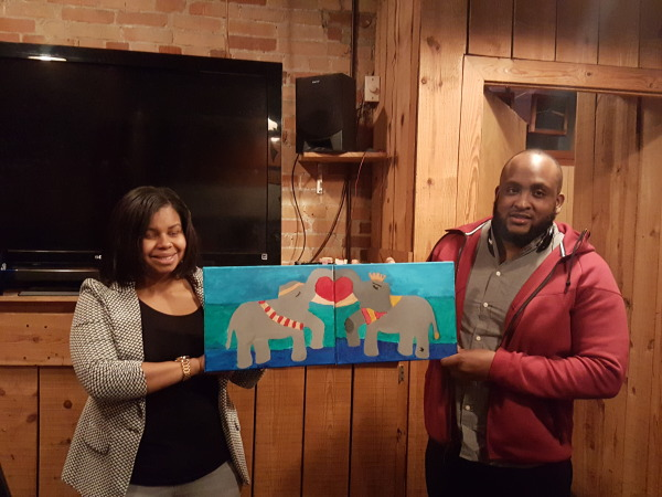 Couple's Paint and Sip; Satisfaction Restaurant and Bar; Valentines Event; Durham Planner